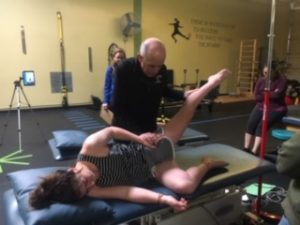Dr. Reichel testing body strenght on our divers