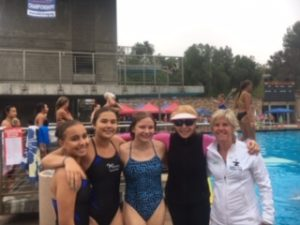 Some McCormick Divers posing with Olympian Mary-Ellen Clark at AAU Nationals 2019